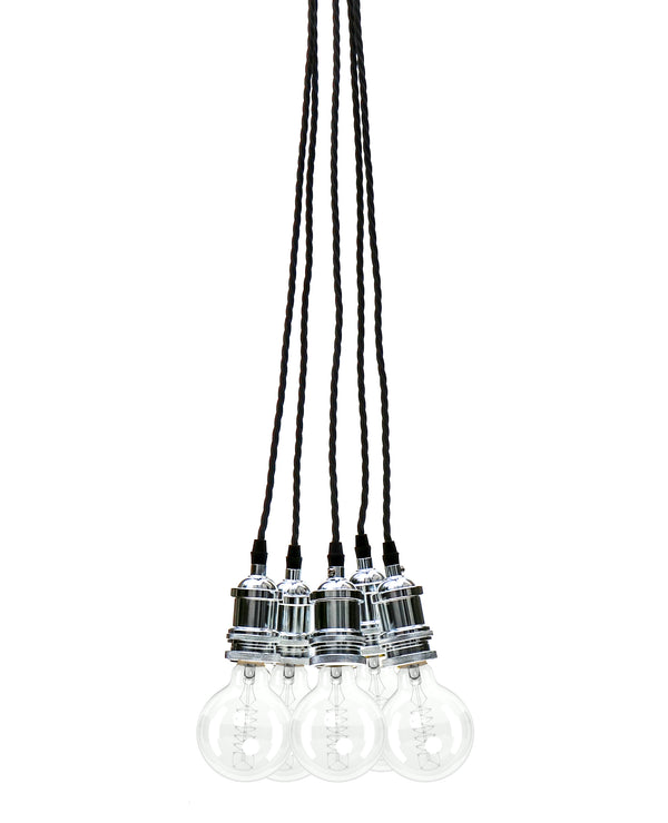 Eddie and Sons 5 Drop Chrome Vintage Pendant Cluster