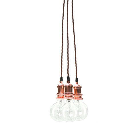 Eddie and Sons 3 Drop Rose Copper Vintage Pendant Cluster