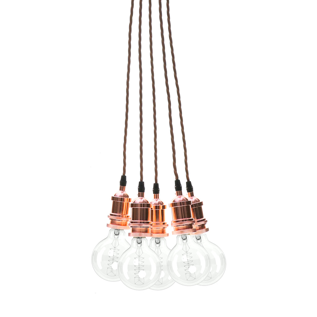 Eddie and Sons 5 Drop Rose Copper Vintage Pendant Cluster