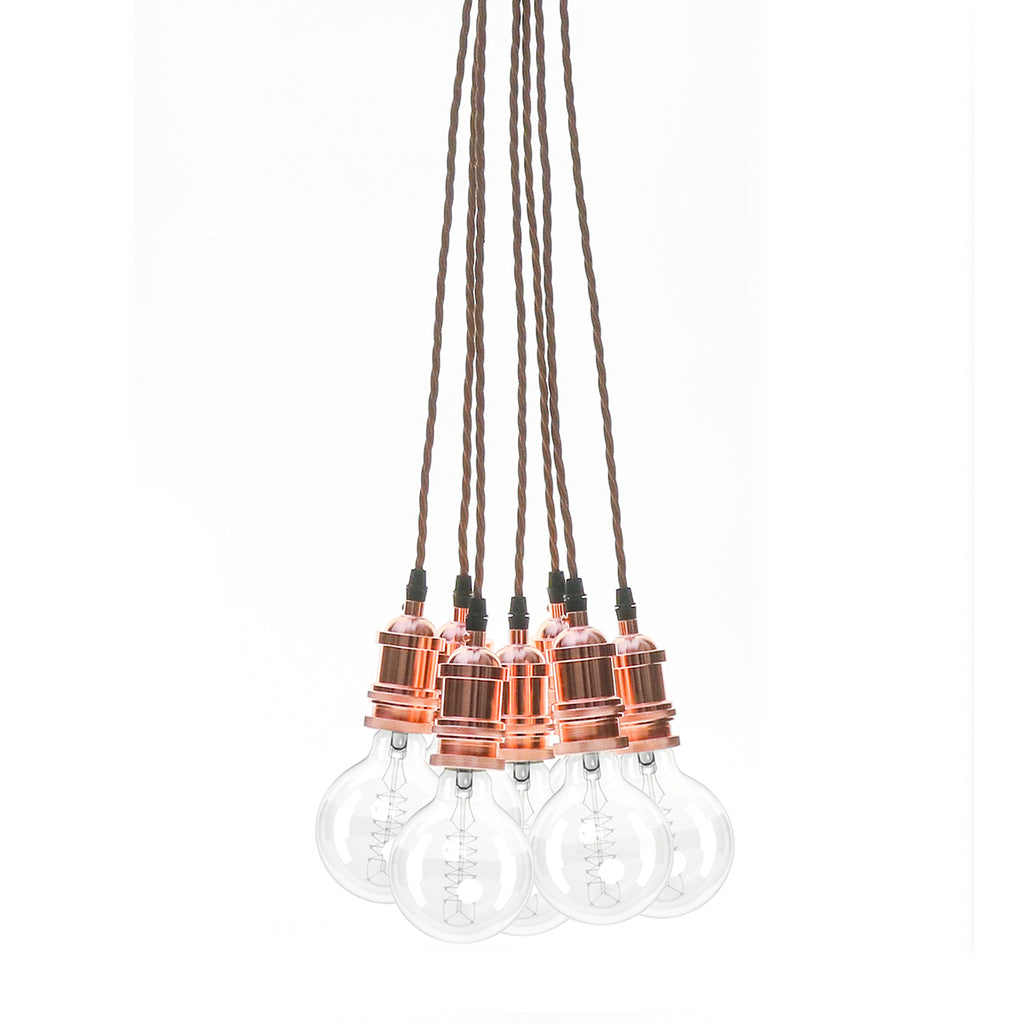 Eddie and Sons 7 Drop Rose Copper Vintage Pendant Cluster