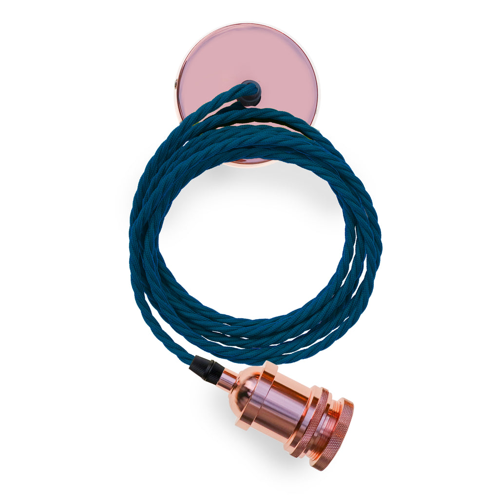Eddie and Sons 1 Drop Rose Copper Pendant with Navy Cord