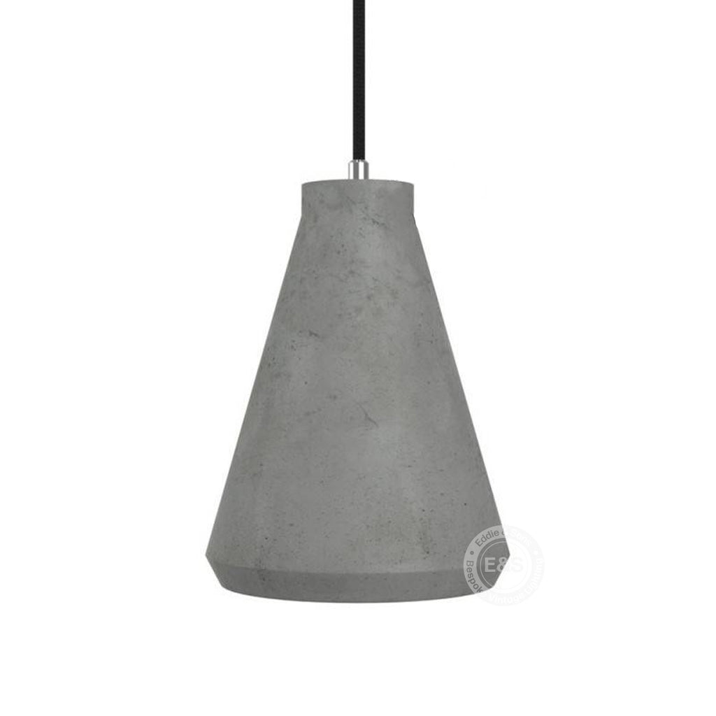 Funnel cement lampshade with cable retainer and E27 lamp holder