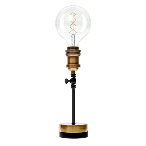Pype Table Lamp with Black Cord, Plug and Dimmer - Antique Bronze (6 Inch Pype)