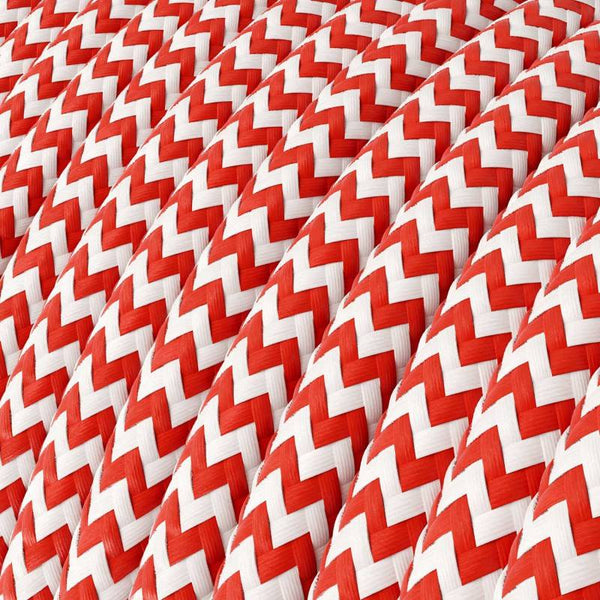 Eddie & Sons Round Fabric Cable - Post Box Red Zig Zag (5 Meter Length)