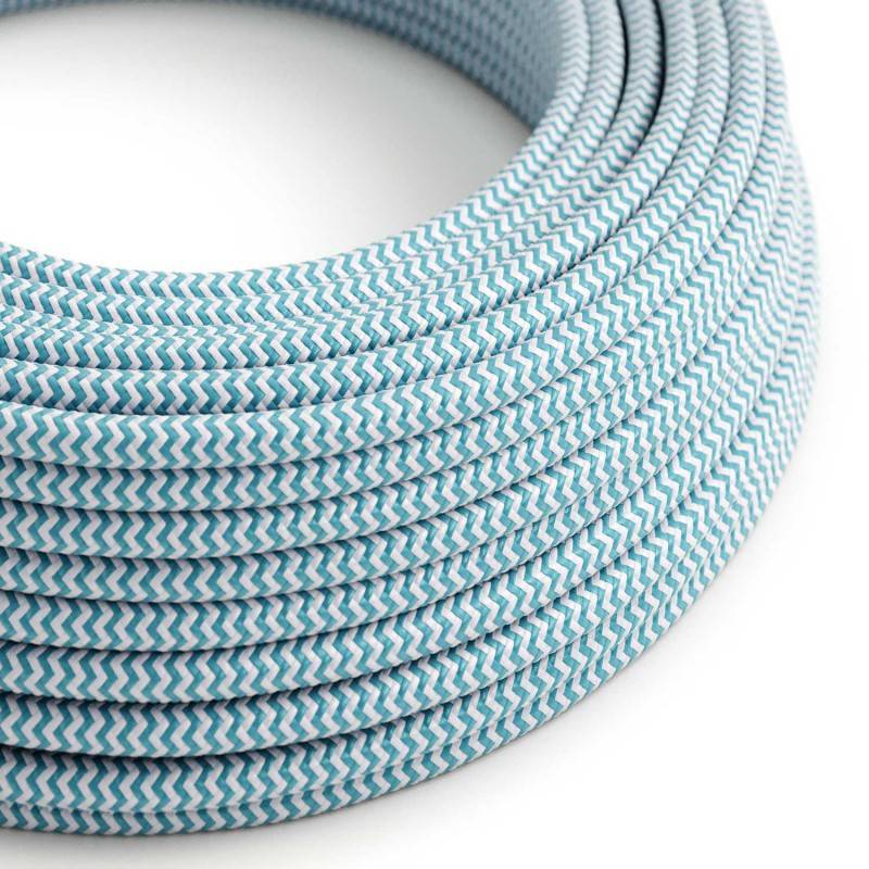 Eddie & Sons Round Fabric Cable - Baby Blue Zig Zag (5 Meter Length)