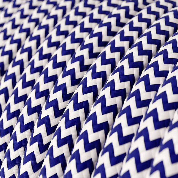 Eddie & Sons Round Fabric Cable - Navy Zig Zag (5 Meter Length)