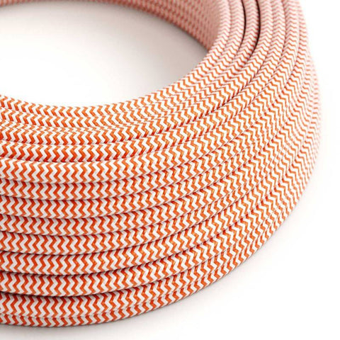 Eddie & Sons Round Fabric Cable - Bright Orange Zig Zag (5 Meter Length)