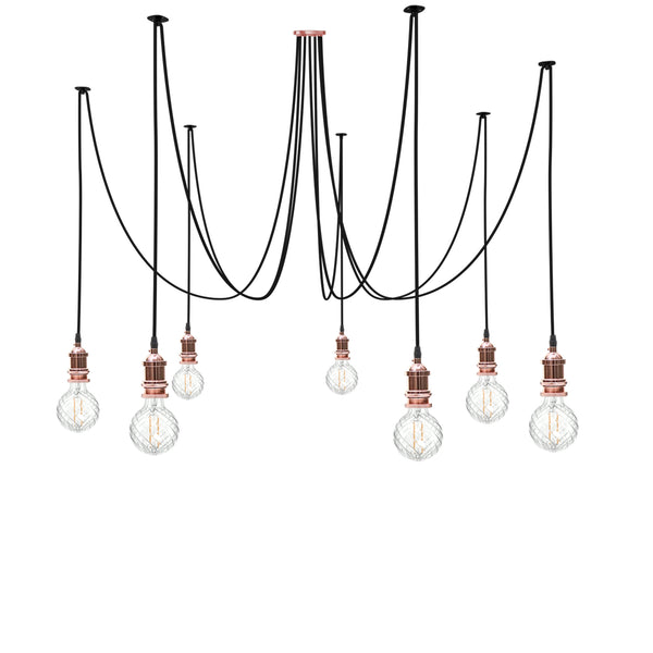 Eddie and Sons 7 Drop Rose Copper Spider Light