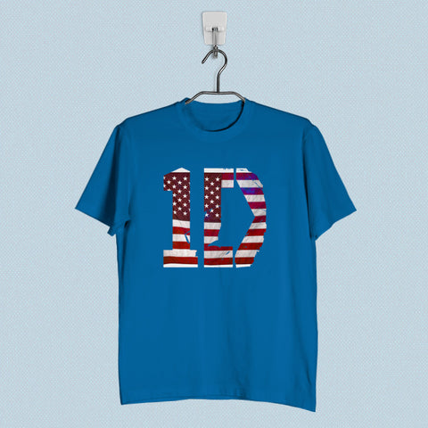 Men T-Shirt - 1D One Direction Flag US Logo