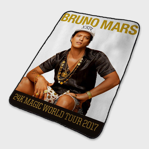 24K Magic Bruno Mars World Tour Fleece Blanket