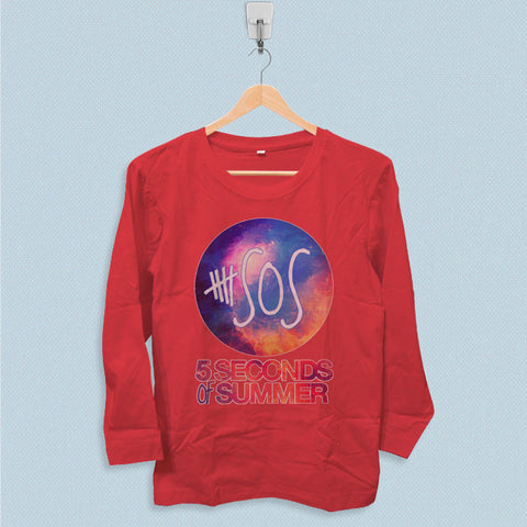 Long Sleeve T-shirt - 5 Seconds of Summer Logo on Galaxy