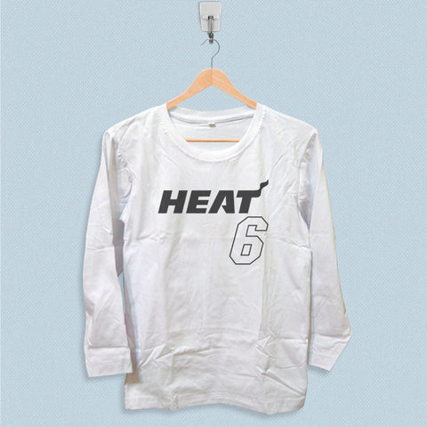 Long Sleeve T-shirt - Lebron James 6 Miami Heat Jersey