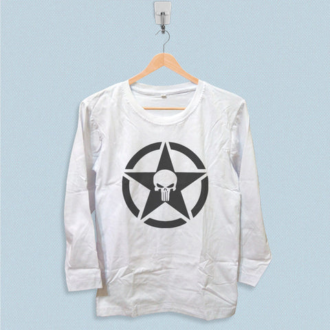 Long Sleeve T-shirt - Military Jeep Star Punisher