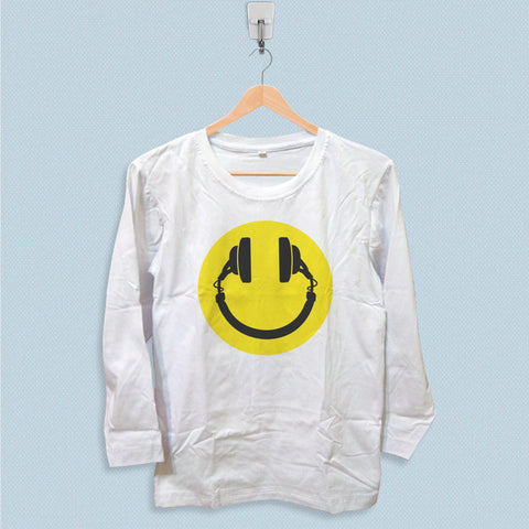 Long Sleeve T-shirt - New Smiley Headphones