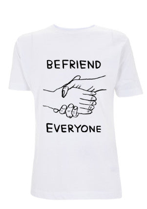 Ladies white 'Befriend Everyone' T-shirt designed by David Shrigley