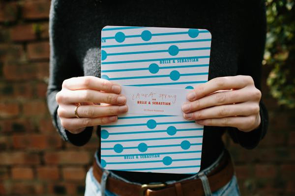 Blue notebook designed by Laura Spring