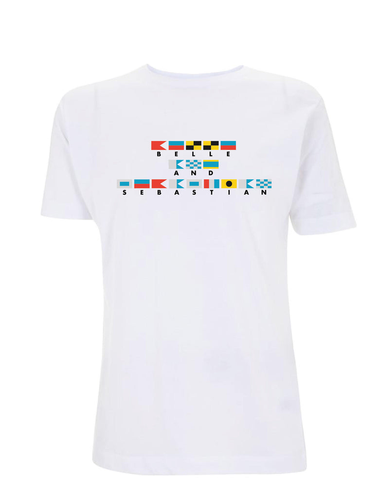 * ON SALE * MENS/Unisex White 'Nautical Flags' T-Shirt
