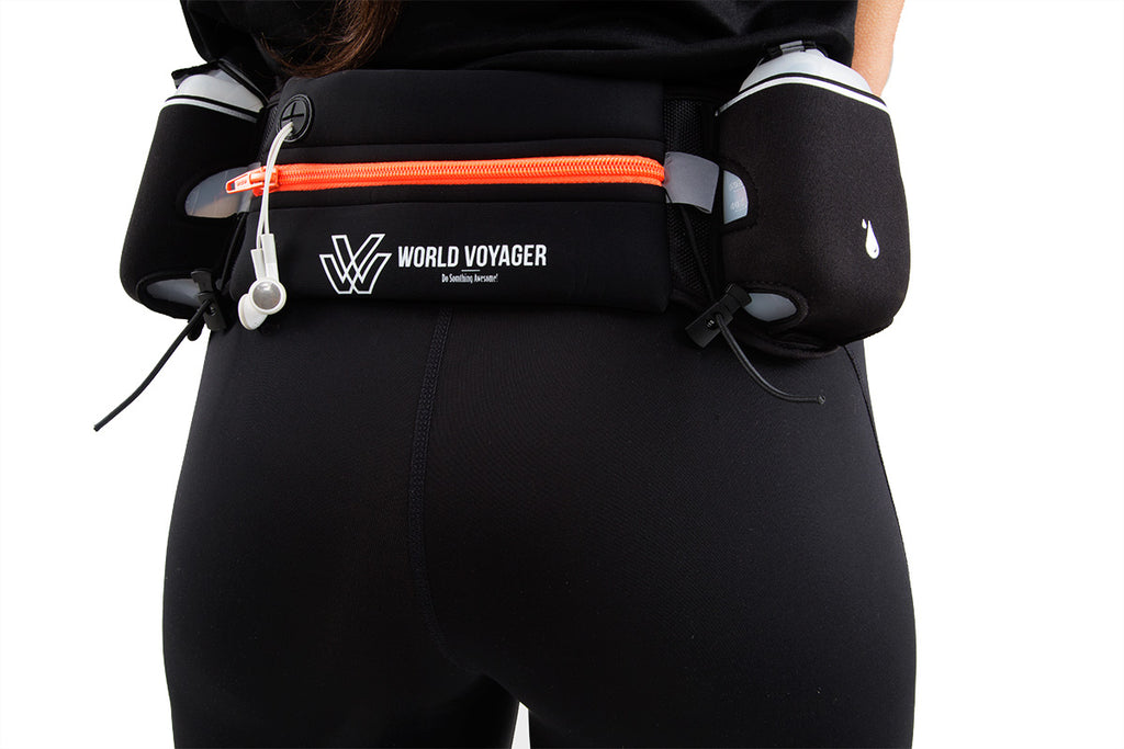 World Voyager Running belt with two 9oz BPA-free hydration bottles