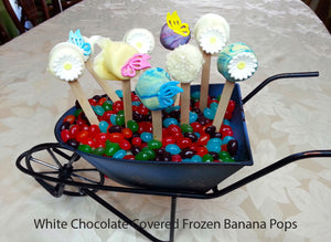 The Carnival & White Chocolate Covered Frozen Banana Pops