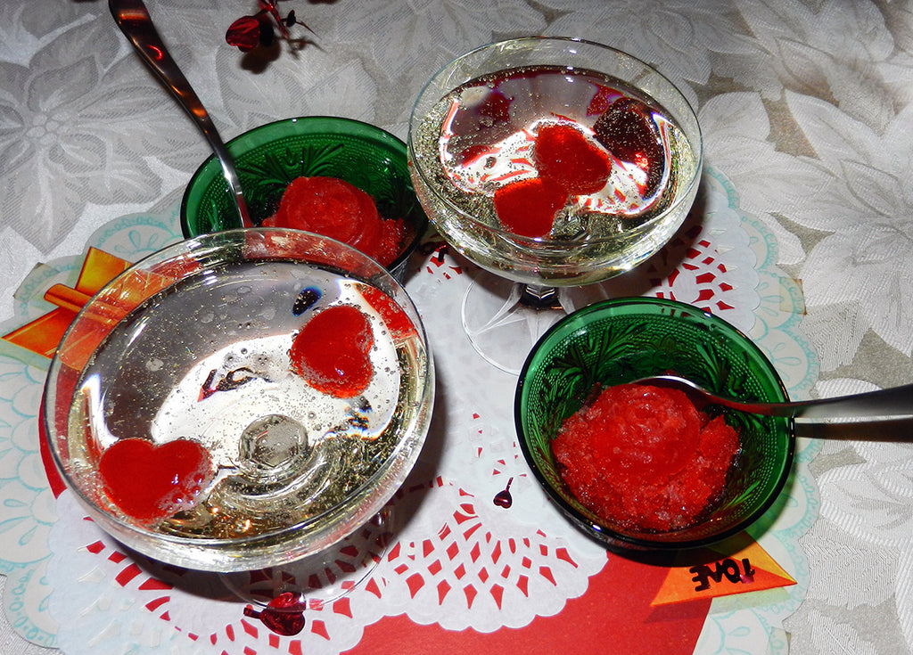 Prosecco Jell-O Frozen Hearts & Flowers