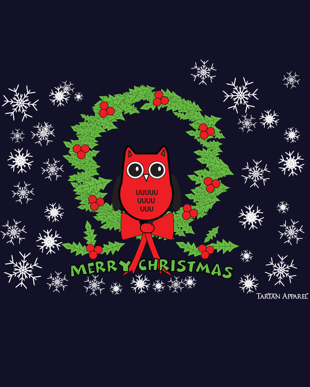 Tartan Apparel Christmas Owl T-Shirt in Navy