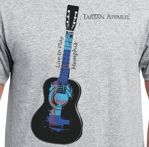 Tartan Apparel Memphis Guitar T-Shirt in Gray