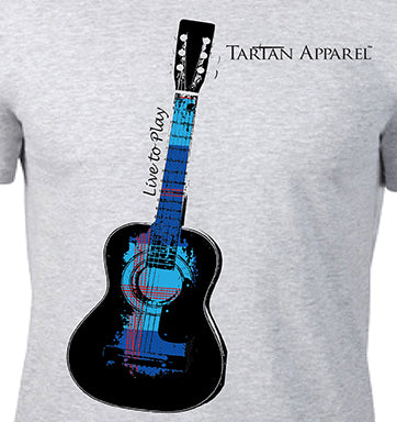 Tartan Apparel Guitar T-Shirt in Gray
