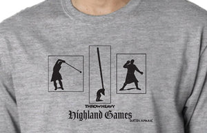 Tartan Apparel Highland Games Throw Heavy T-Shirt in Ash