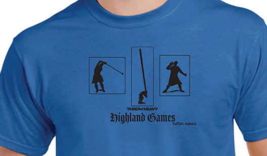 Tartan Apparel Highland Games Throw Heavy T-Shirt in Royal Blue