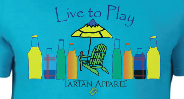 Tartan Apparel Live to Play T-Shirt in Caribbean Blue