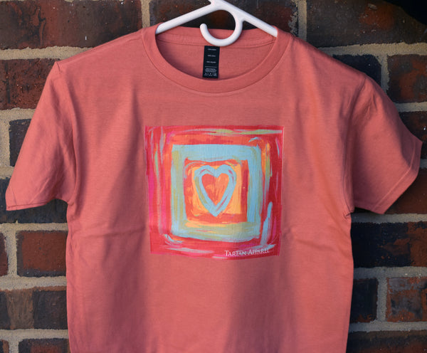 Tartan Apparel Painted Heart Youth T-Shirt in Terra Cotta