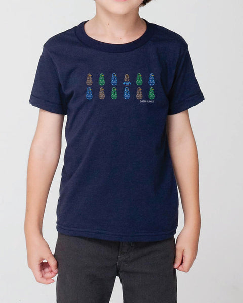 Tartan Apparel Camosnow Kilt Kids T-Shirt In Navy - S / Navy - T-Shirt