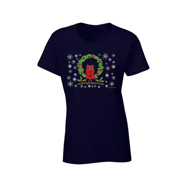 Tartan Apparel Christmas Owl T-Shirt In Navy - S / Navy - T-Shirt