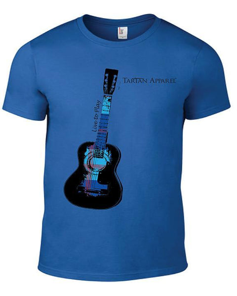 Tartan Apparel Guitar T-Shirt In Blue - S / Blue - T-Shirt