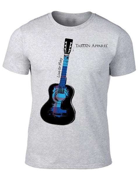 Tartan Apparel Guitar T-Shirt In Gray - S / Gray - T-Shirt