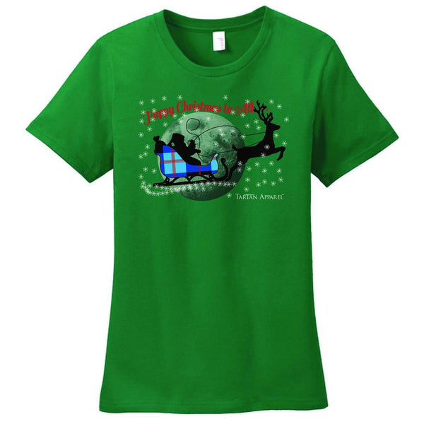 Tartan Apparel Happy Christmas T-Shirt In Green - S / Green - T-Shirt