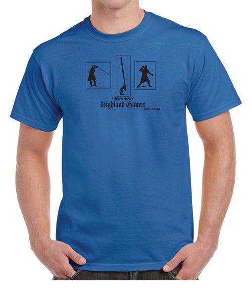 Tartan Apparel Highland Games Throw Heavy T-Shirt In Royal Blue - S / Royal Blue - T-Shirt