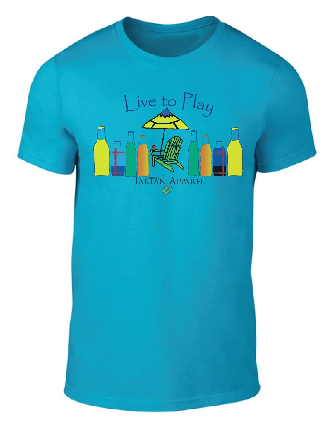 Tartan Apparel Live To Play T-Shirt In Caribbean Blue - S / Caribbean Blue - T-Shirt