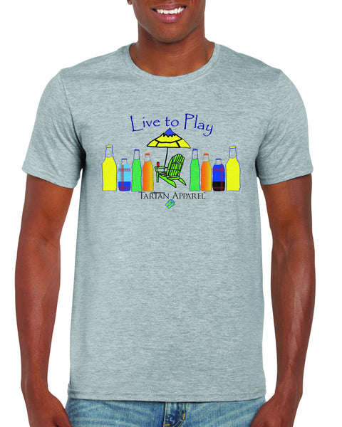 Tartan Apparel Live To Play T-Shirt In Gray - S / Gray - T-Shirt