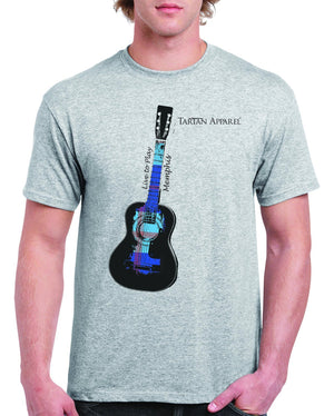 Tartan Apparel Memphis Guitar T-Shirt In Gray - M / Gray - T-Shirt