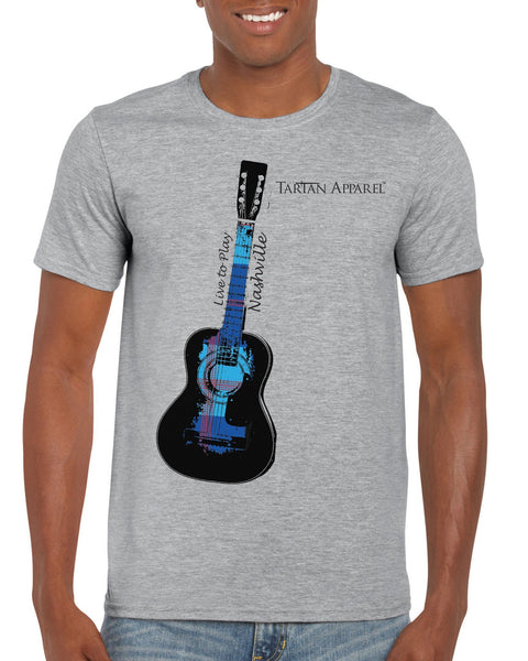 Tartan Apparel Nashville Guitar T-Shirt In Gray - M / Gray - T-Shirt