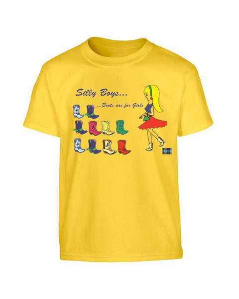 Tartan Apparel Silly Boys...boots Are For Girls In Sunshine - S / Sunshine - T-Shirt