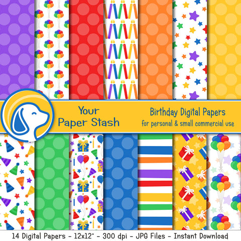 Bright Birthday Digital Scrapbook Papers and Backgrounds