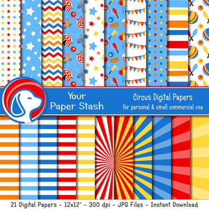 circus big top carnival digital scrapbook paper background birthday party
