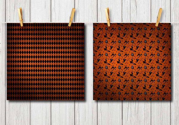Distressed Textured Halloween Digital Scrapbook Paper Pack and Backgrounds