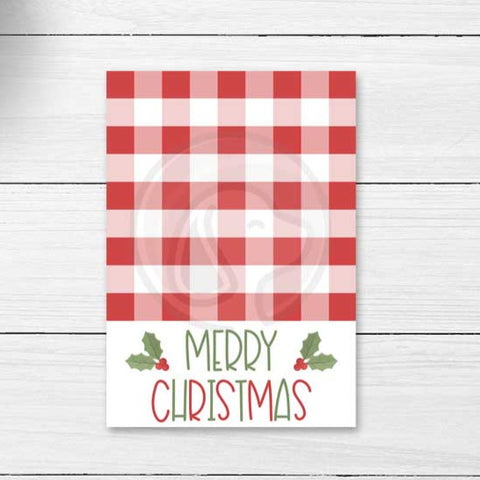 merry christmas buffalo check farmhouse printable cookie card tags instant download printables