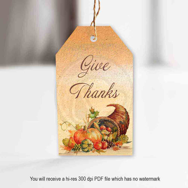 printable thanksgiving cornucopia gift tags party decor decorations watercolor textured backgrounds