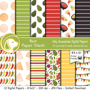 "8.5x11"" Holy Guacamole Fiesta Digital Papers"