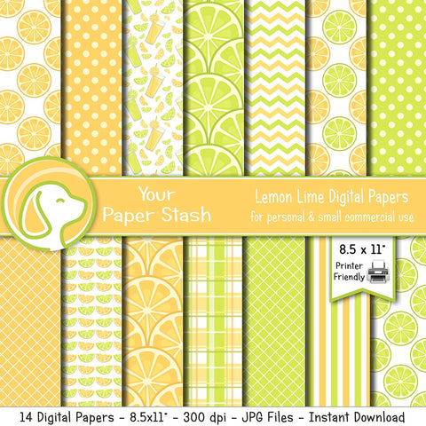 "8.5x11"" Lemon Lime Digital Papers and Backgrounds"