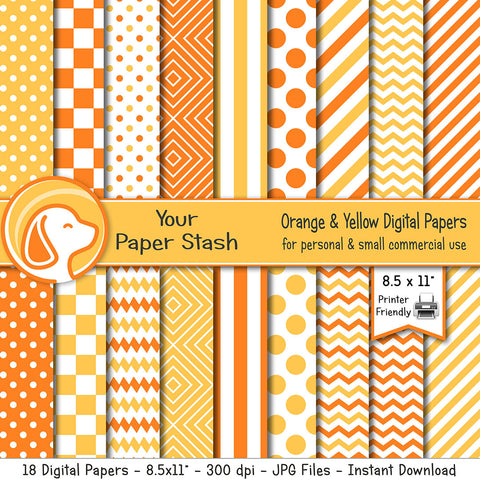 8.5x11 Orange and Yellow Digital Paper Pack With Geometric Patterns